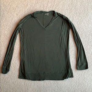 LOFT Green V-neck Top